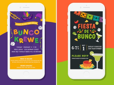 BUNCO!!! Game Night E-vites clean simple illustration salsa margaritas margarita fiesta mardi gras mardigras theme party board game dice game night invitation invite email evite