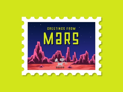 STAMP FROM MARS neon colors colorful flat clean simple perseverance aliens fun neon illustration space nasa rover postcard mail stamp mars
