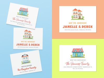 We've Moved! - Announcement Postcards pastel bright minimal colorful clean family house mail invitation design postcard design announcement postcards home new home moving