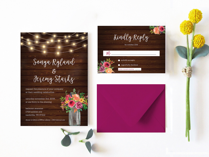 Wedding Invitations - Rustic Romance Ya'll envelope paper savethedate save the date fall wedding fall event design events print floral rustic wedding invitation wedding invite weddings brides wedding invites invites wedding invitations