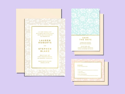 Wedding Invitations - Sweet Pastel Lace