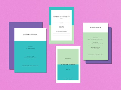 Wedding Invitations - Modern Color Block