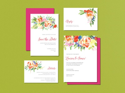 Wedding Invitiations - Watercolor Floral