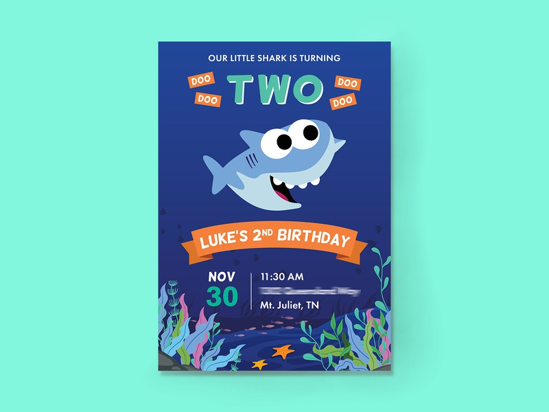 My Nephew is a Baby Shark! - Party Invitations