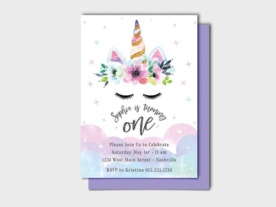 Sophia is also a Magical Rainbow Unicorn! - Party Invitations invite watercolor watercolor illustration magical girl first birthday one birthday invitation birthday party invitation design invitations invitation unicorn rainbow pastel girly colorful magical bday
