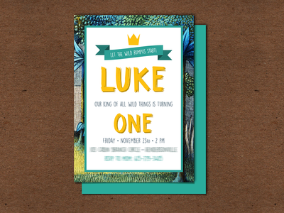 My Nephew was The King of Wild Things! - Party Invitations invite design invitation design boys birthday boys where the wild things are one first birthday wild one king of wild things birthday invitation invitation invitations invite birthday