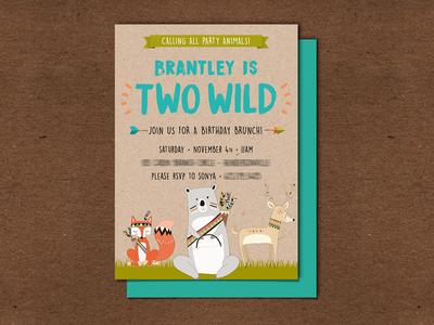 My Nephew was TWO WILD! - Party Invitations