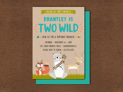 My Nephew was TWO WILD! - Party Invitations woodland animals woodland forest party animals boho animals wild two wild two birthday party invitation design invite design invitations invitation invite birthday invitation birthday