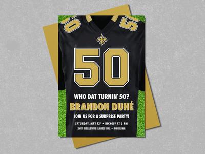 Saints 50th Birthday Invitation - Party Invitations