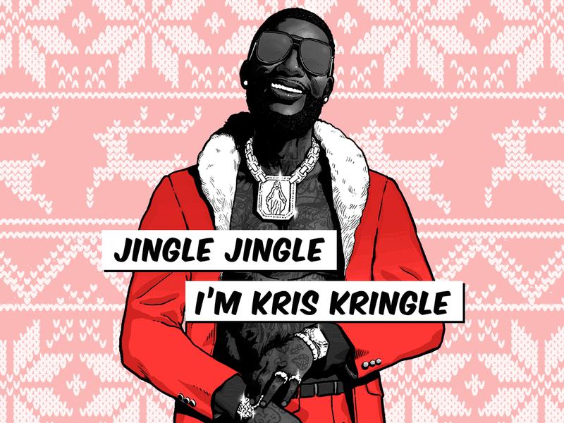 Gucci Christmas Vibes 🎄🎅🏿 gucci digital lyrics christmas rap hip hop east atlanta santa 3 east atlanta santa gucci mane illustration