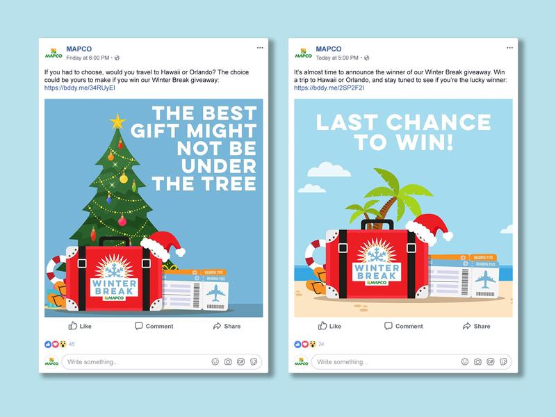 MAPCO Winter Break Sweepstakes campaign winter vacation giveaway social social media digital graphic digital