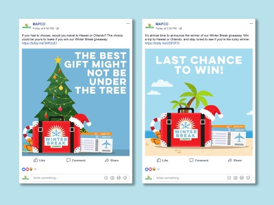 MAPCO Winter Break Sweepstakes campaign winter vacation giveaway social social media digital graphic digital