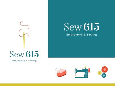 Sew 615 | Embroidery & Sewing sew seamstress embroidery alterations sewing design nashville colorful logotype illustration logo branding