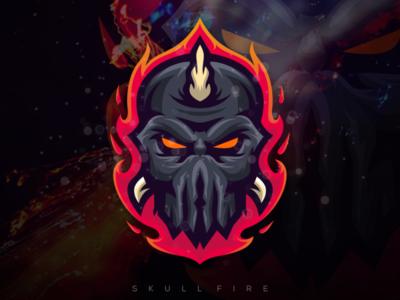 skull fire esport logo esport gaming e-sports esports e-sport mascot fire character brand logo