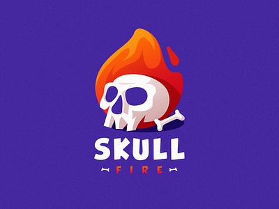 skull fire shield esports angry e-sport esport sport mascot character flame fire skull brand logo