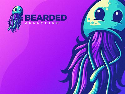 Bearded Jellyfish esports angry e-sport esport sport mascot character brand logo octopus jellyfish