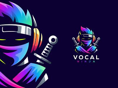 vocal ninja angry e-sport esport sport mascot character brand logo vocal ninja