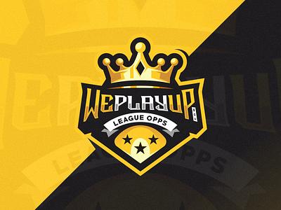 WePlayUp logo esport shield e-sport mascot character brand gold crown gaming sport esport logo play weplayup
