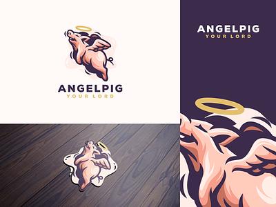 angel pig esports angry e-sport esport sport mascot character brand logo pig angel