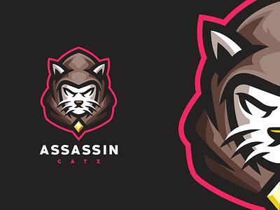 Assassin cat esports angry e-sport esport sport mascot character brand logo cat assassin
