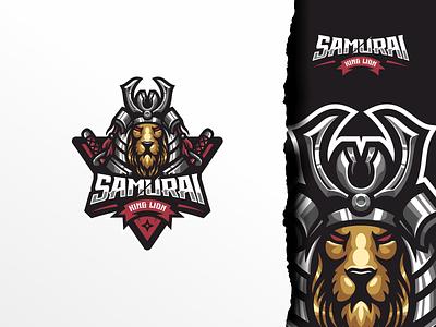 Samurai ui illustration design e-sport esport sport mascot character brand lion king king lion samurai logo