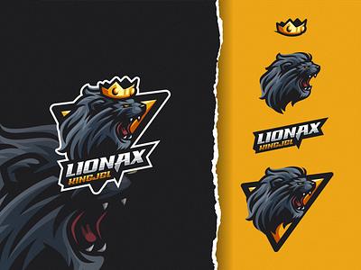 Lionax King Jungle ui illustration design e-sport esport sport mascot character brand logo esport logo king logo lion logo crown lion king king lion