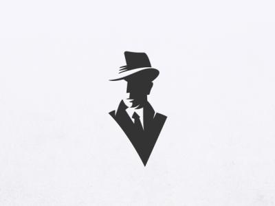 Man with a Fedora negative black brand fedora logo