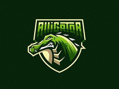 Alligator design illustration badge logo esport gaming e-sports esports shield angry e-sport esport sport character mascot brand logo alligator