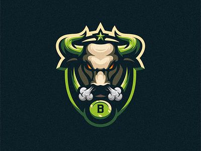 Bull badge logo esport gaming e-sports esports shield angry e-sport esport sport character mascot brand logo