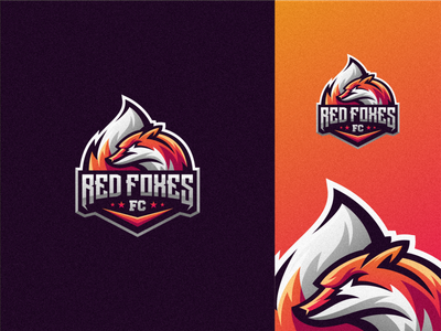 Red Foxes badge logo esport gaming e-sports esports shield angry esport e-sport redfox fox character mascot brand logo