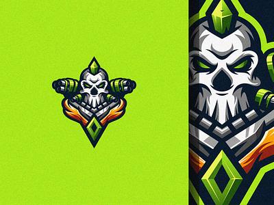 Skull Fighter logo esport gaming e-sports esports shield angry e-sport esport sport character mascot brand logo fighter skull