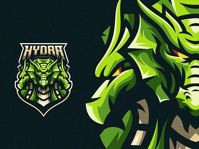 Hydra illustration beard cute badge logo esport gaming e-sports esports shield angry e-sport esport sport character mascot brand logo hyderabad dragon hydra