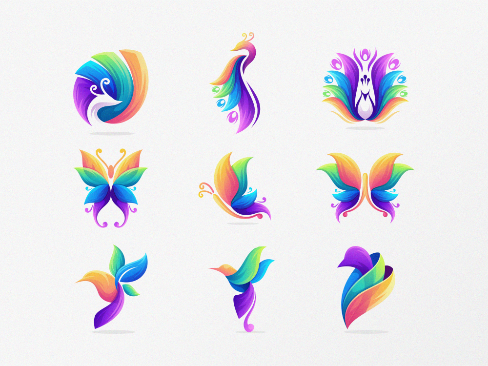 which one? colorful design character brand logo