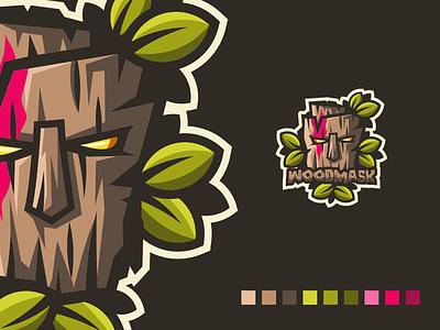 Woodmask logo esport gaming e-sports esports shield angry e-sport sport esport mascot character brand logo wood