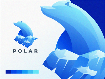 Polar Bear type minimal typography animation web app icon ux branding vector illustration ui design brand logo royal blue ice bear polar