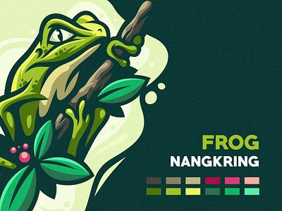 Frog Nangkring ui app icon ux branding vector design illustration esports e-sports mascot character brand logo frog logo frog