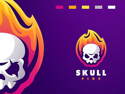 skull fire shield esports angry e-sport esport sport mascot character brand logo skull logo fire skull