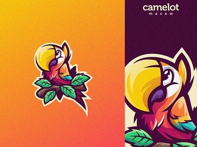 CAMELOT MACAW esports angry e-sport esport sport mascot character brand logo bird parrot camelot macaw