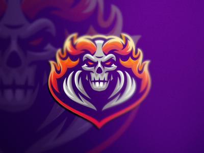 Fire Skull esports angry e-sport esport sport mascot character brand logo skull fire