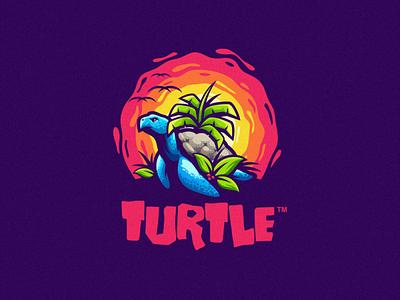 TURTLE e-sports esport angry e-sport sport mascot character sun sunset brand logo turtle