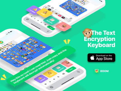 BOOM: The Text Encryption Keyboard messaging app button chat bubble mobile ios social emoji encryption keyboard
