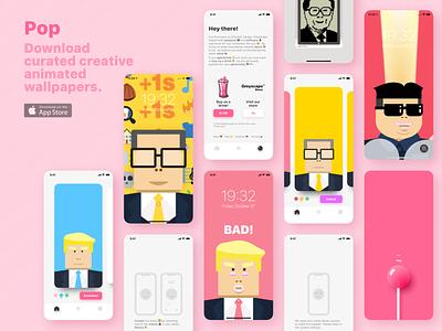 Wallpaper app design trump card video illustration appstore web photo live product drink pink pop lolipop candy design wallpaper ux ui ios app