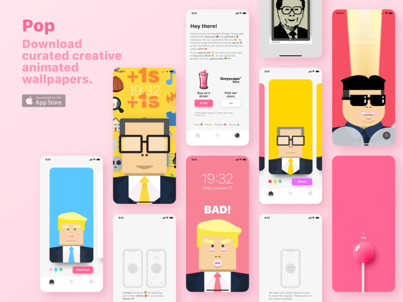 Wallpaper app design trump card video illustration appstore web photo live product drink pink pop lolipop candy design wallpaper ux ui ios app