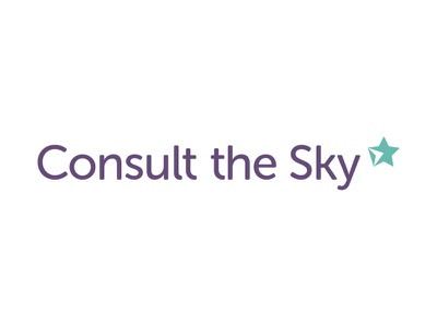 Consult the Sky   Branding  business card website teal purple star astrology icon logo branding brand
