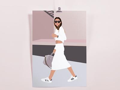 Walking Weather dusty rose graphic design illustration adidas sport luxe athleisure fashion