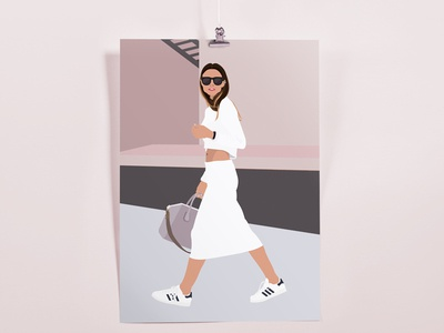 Walking Weather dusty rose graphic design illustration adidas sport luxe athleisure fashion