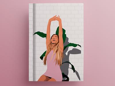 Sun Salutation graphic design illustration brick woman stretch palm plant