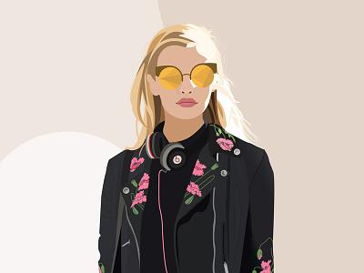 Statement Jacket graphic design illustration sunglasses beats embroidery leather jacket beautiful girl woman girl