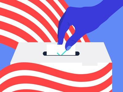 Get out the Vote polls election 2016 red white and blue illustration patriotistm america election voting