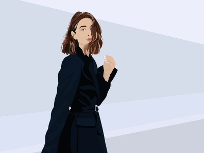 Perspective editorial bob cool colors shades of blue beautiful woman fashion graphic design illustration